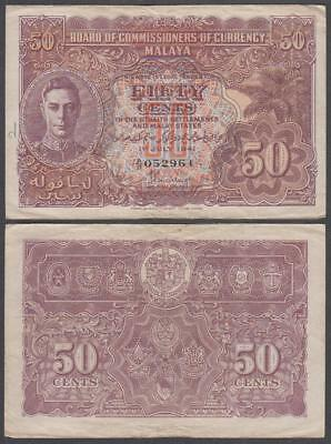 1941 Commissioners Currency Malaya King George VI 50 Cents