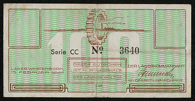 NETHERLANDS POW Camp (C4174a) 100 Cents 1944 aVF/VF WESTERBORK