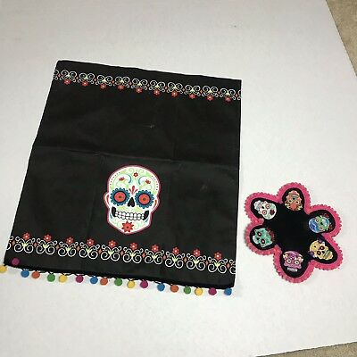 Day Of The Dead Small Side Table Cloth And Hand Made Coaster Sugar Skull