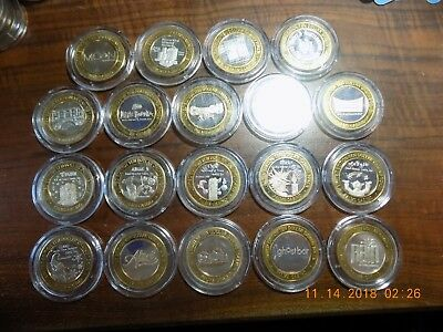 (19) PALMS CASINO .999 Silver Strikes - Nineteen Different Types in Capsules  BU