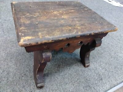 Antique Victorian Small Stained Wood Foot Stool As Found For Repair w Repair