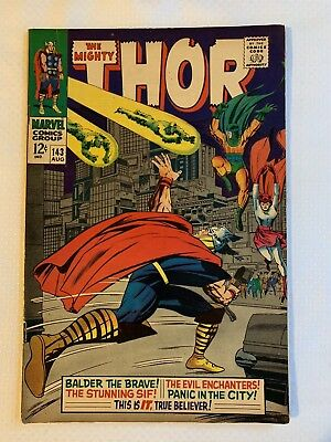 MARVEL ~ THE MIGHTY THOR AUG #143 BALDER THE BRAVE! COMIC 12c