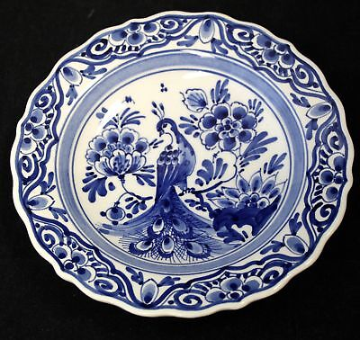 Vintage/Retro DELFT POTTERY Decorative WALL PLATE With Peacock Design - S48
