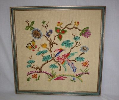 Vtg Completed Needlepoint Bird of Paradise in a Tree Professionally Framed 20x20