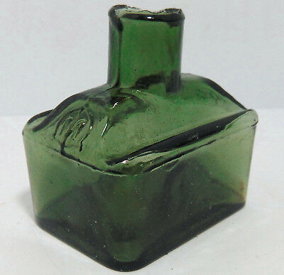 """Olive Green Morrell of London """"Boat"""" Type Ink Bottle c1890's"""