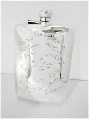 Sterling Gift Flask With Several Inscribed Names, 396 Grams, Make Henry Birks