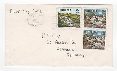 1978 RHODESIA First Day Cover WATERFALLS SG566/7 + AA Compliment Slip SALISBURY