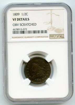 1809 Classic Head Half Cent (VF Details) NGC.  Obverse scratched.