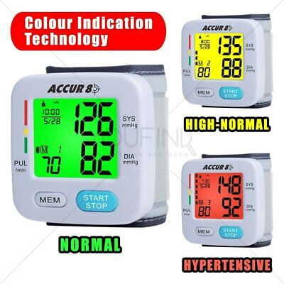New Blood Pressure Monitor Automatic Wrist Bonus Case 3 Colour Coded TGA Listed