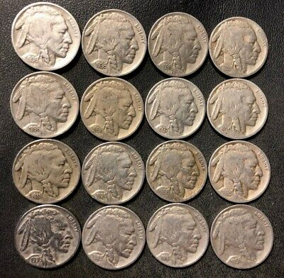 VINTAGE United States Coin Lot - BUFFALO NICKELS - 16 DATED Coins - Lot #N14