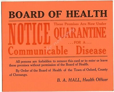 Board of Health Quarantine Notice Vintage Sign Communicable Disease Oxford NY