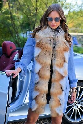 New 2019 Blue Jeans Coat Fox Fur Class Of Sable Mink Chinchilla Long Jacket Vest