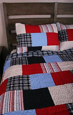 Queen Quilt Set Red Blue White Plaid Collegiate Americana Bedding
