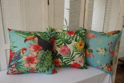 Summer Bright Tropical Birds & Flowers Linen Look Fabric Cushion Cover 45