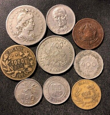 VINTAGE Brazil Coin Lot - 1895-1940 - 9 Great Collectible Coins - Lot #N14