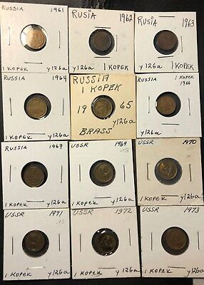 Old Soviet Union/CCCP Coin Lot - KOPEK - Date Run - 1961-1973 - Lot #N14