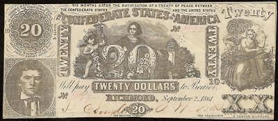 1861 $20 Dollar Bill 3 Series Confederate States Currency Note Money T-20 Pf-15
