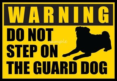 PUG Warning Do Not Step on Guard Dog Magnet  4 x 3in