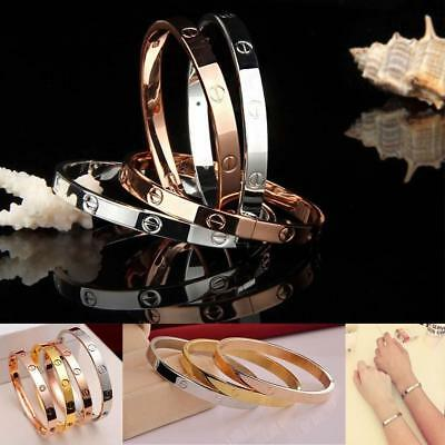 Women's Stainless Steel Screw Head Love Cuff Bangle Bracelet Wedding Party AE