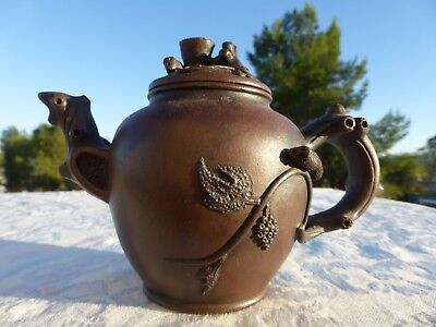 FANTASTIC CHINESE Clay Teapot Ornate detail Signed
