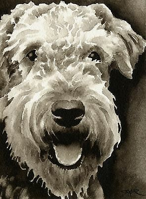 Airedale Terrier Art Print Sepia Watercolor Painting by Artist DJR