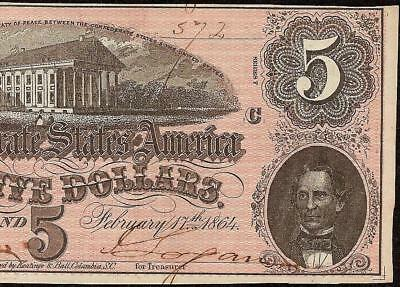 1864 $5 Dollar Confederate States Currency Civil War Note Paper Money T-69 Au