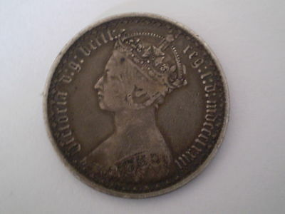 Queen Victoria Great Britain One Florin 1/10 Of A Pound Silver Coin 1848-1887