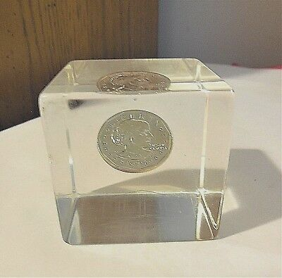 """PAPERWEIGHT - Encased Coin 1979 Susan B Anthony Dollar Acrylic Lucite 2"""" Cube"""