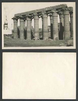 Egypt Old Real Photo Postcard Luxor Louxor Temple Ruins Columns Mosque Tower RP