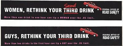 2 x Rethink your third/second drink stickers Federal office of road safety RARE