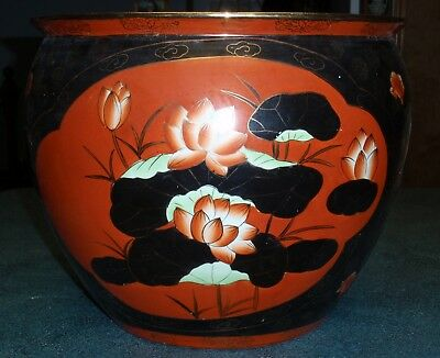 """Beautiful X-Large Asian Oriental Planter With Black Floral Design 17"""" x 14"""" Tall"""