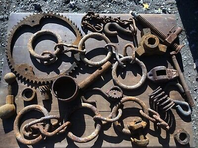 METAL PARTS & PIECES JUNK DRAWER LOT Salvaged STEAMPUNK ART PRIMITIVE