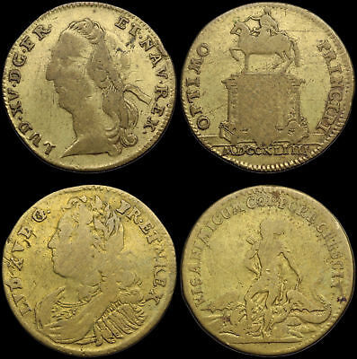 """FRANCE. Louis XV """"The Beloved"""" Copper Jeton, 1715-1774, Lot of 2, different type"""