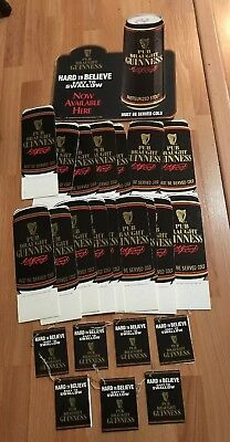 25 Vintage 1991 Guinness Beer Bar Cardboard Display Table Sign Tents & Tags Lot