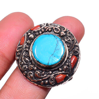 Tibetan Turquoise,Coral Gemstone 925 Sterling Silver Plated Ring Size-9 RR-39094