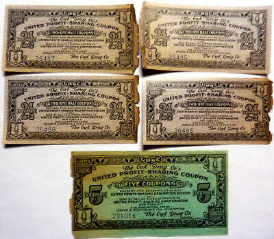 lot of 5 vtg The Owl Drug Co. United Profit Sharing Coupons rare !!!!!!!!!!!!!!!