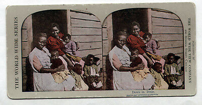 Vintage Lithograph Stereoview 1910 African Americans/Down Dixie/Black Americana