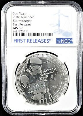 2018 Niue NGC MS 69 First Releases Star Wars Stormtrooper Silver Coin (b83t)