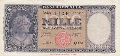 1948 Italy 1,000 Lire Note, Pick 88a