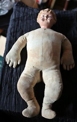 antique handmade doll with very large hands, unusual, 17 inches