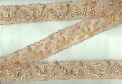Vintage Heavy Hand Embroidered  Metallic Golden Zari Beaded Net Lace Trim Ribbon
