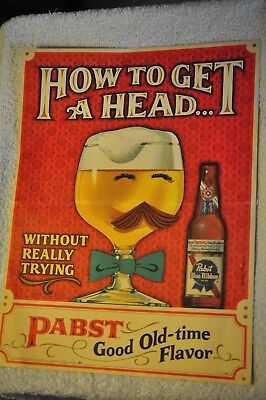 "Vintage Pabst Blue Ribbon Beer Poster ""How to Get A Head"" (without really trying"