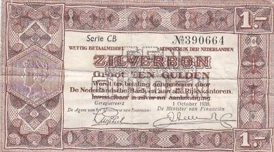 1938 Netherlands 1 Gulden Note, Pick 61