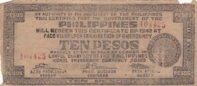 1942 Philippines Bohol 10 Pesos Emergency Currency Note, Pick S137e