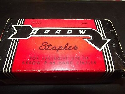 Vintage Box of Arrow Staples S-66 for use with P66 Hand Stapler - 12,000 count