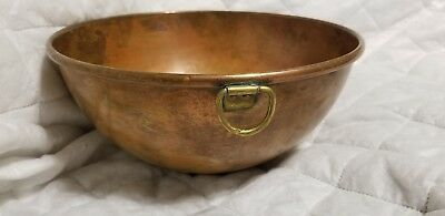 """Vintage Heavy Round 10"""" Copper Mixing Egg Beating Bowl with Brass Ring 5"""" high"""