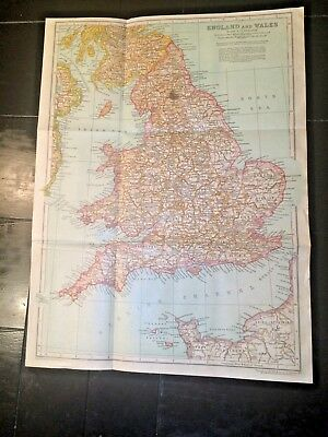 """ANTIQUE 1910 Map of ENGLAND & WALES! 108 years old 15"""" x 11"""" ready to frame NR!!"""