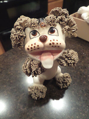 Vintage Ceramic Spaghetti Poodle with Bug on his head