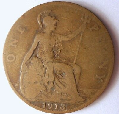 1913 GREAT BRITAIN PENNY - Excellent Coin - FREE SHIP - Britain Bin #A