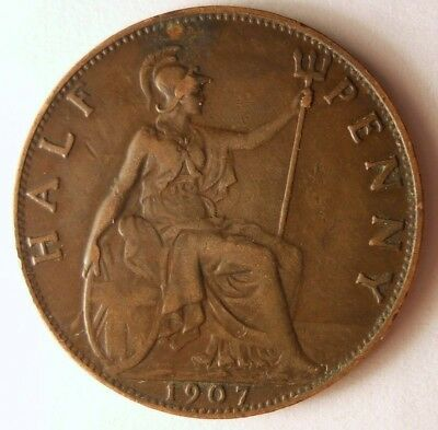 1907 GREAT BRITAIN 1/2 PENNY - Excellent Coin - FREE SHIP - Britain Bin #A